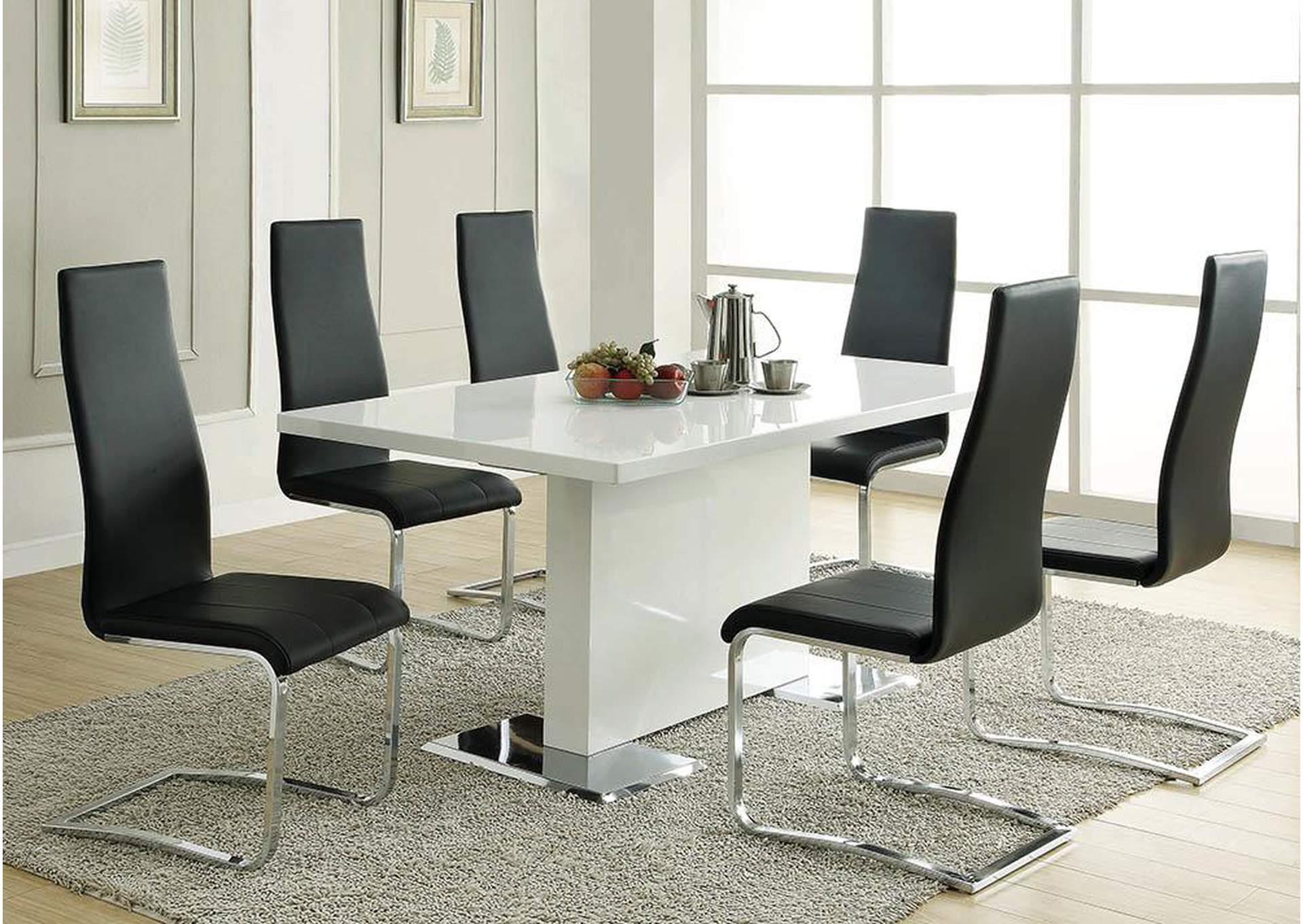White Dining Table With Chrome BaseCoaster Furniture