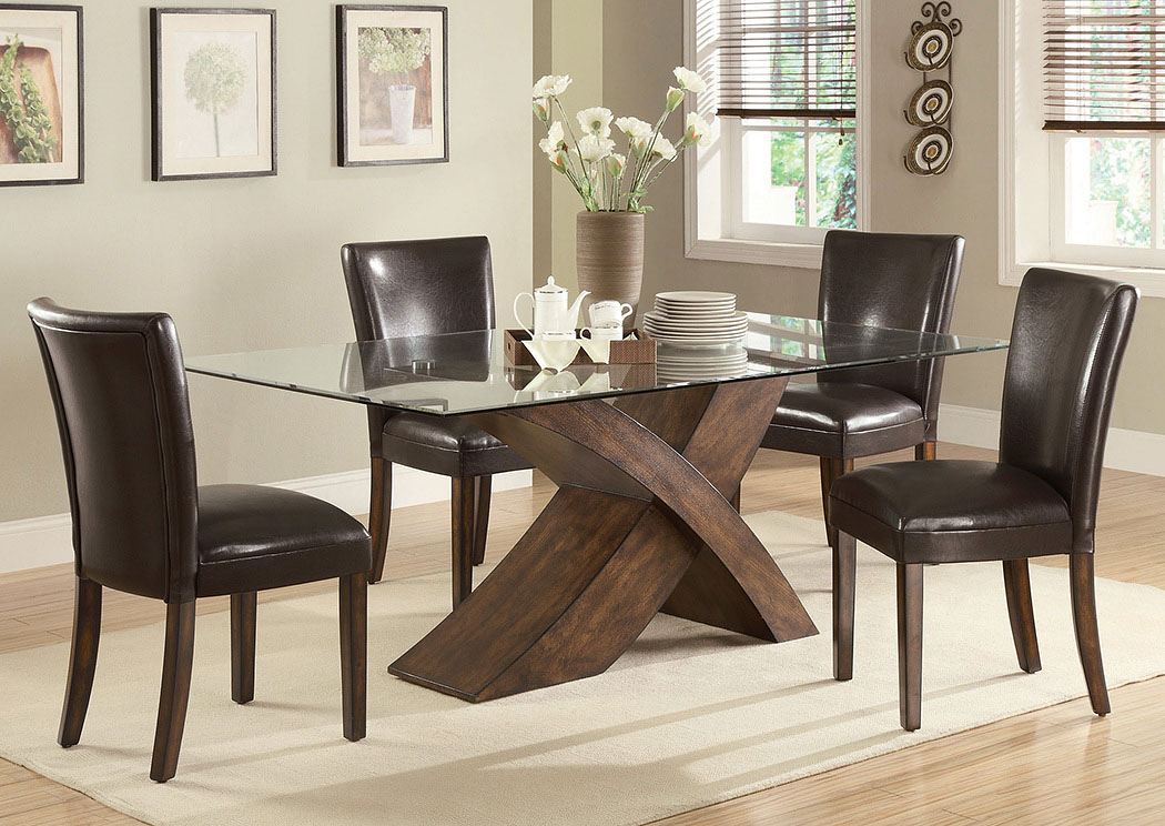 Atlantic bedding and furniture nessa brown dining table w for Side chairs for dining table