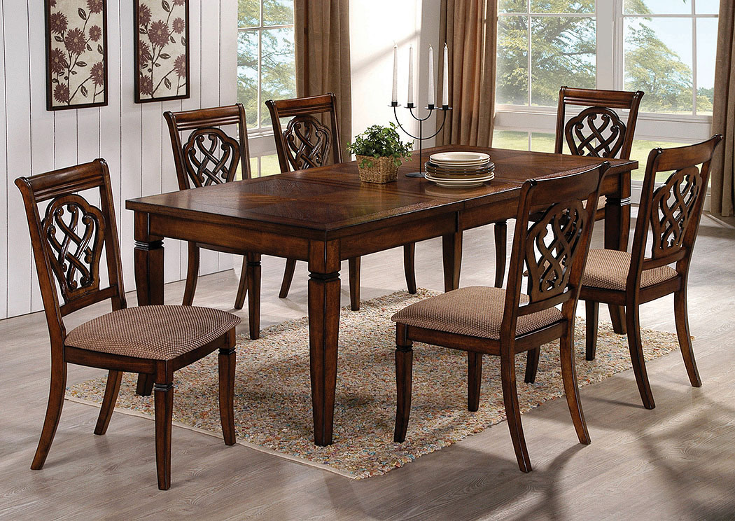 Oak Dining Table w/Extension Leaf & 6 Side Chairs,Coaster Furniture