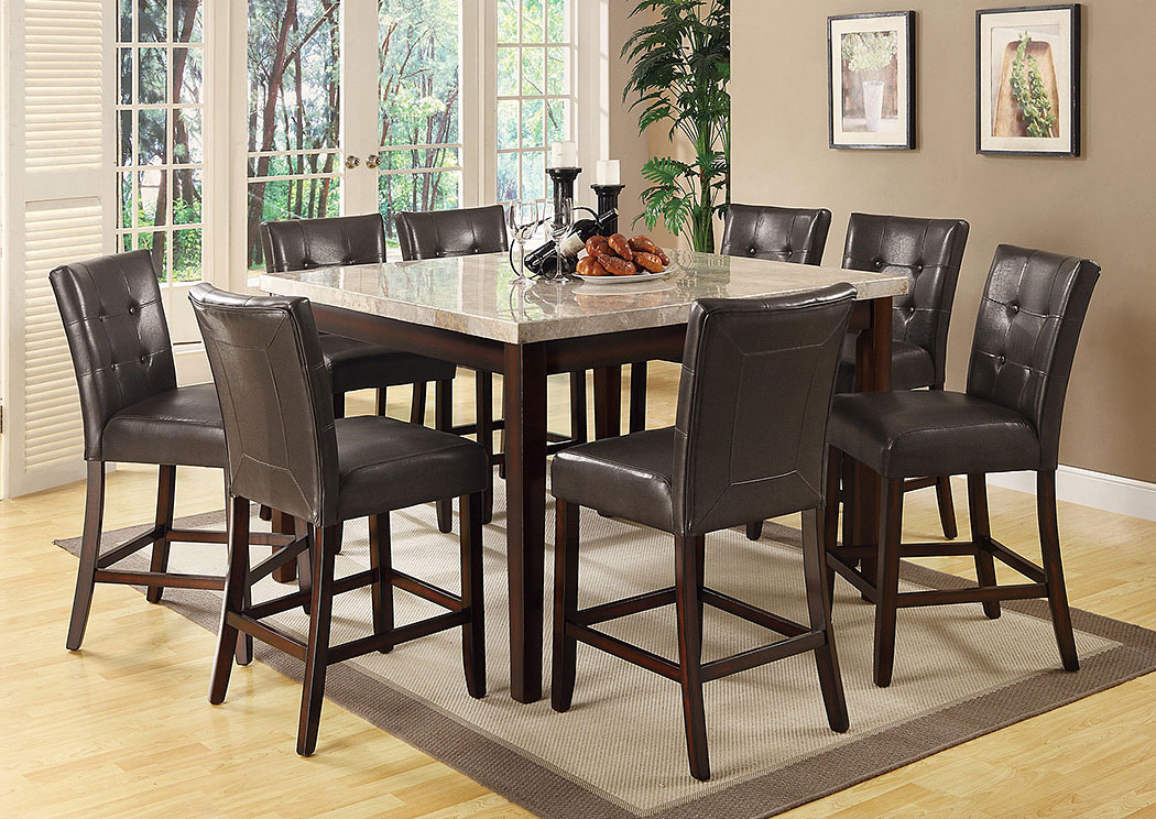 Milton Cappuccino Counter Height Table w/ 8 Counter Height Stools,Coaster Furniture
