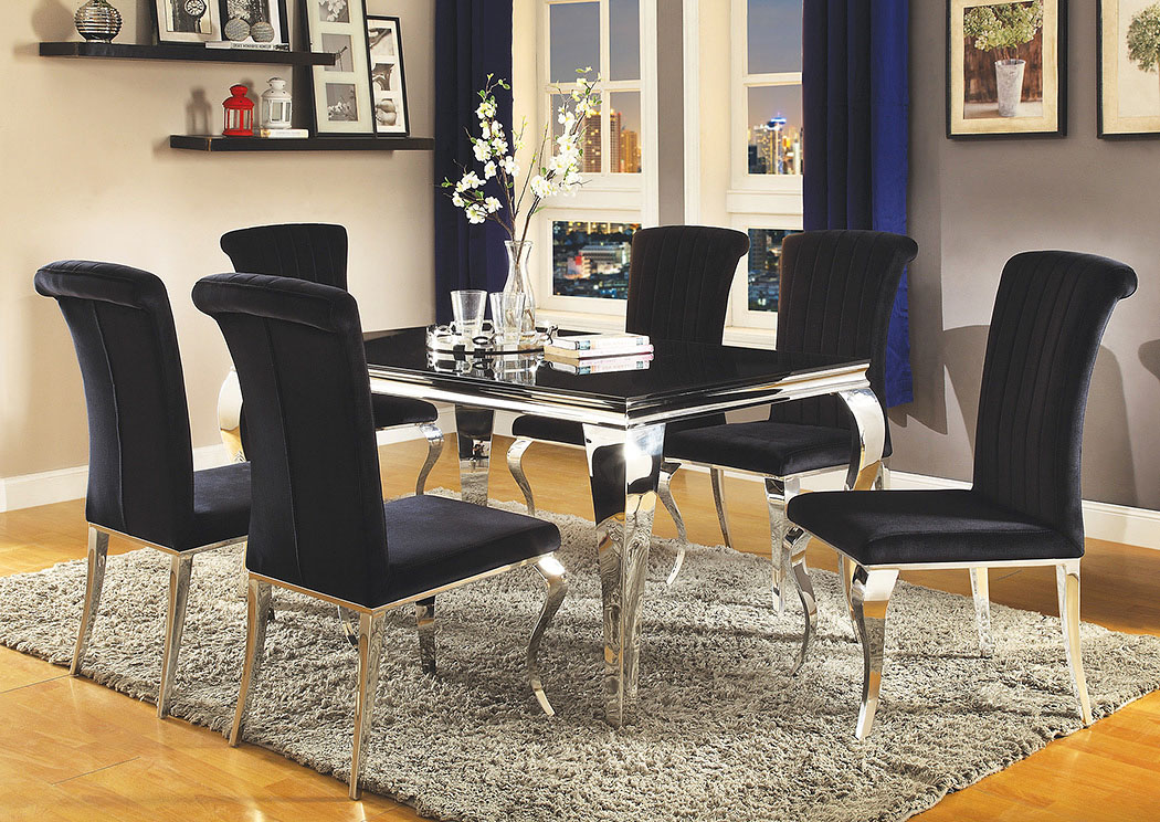Black Dining Table w/4 Side Chairs,Coaster Furniture