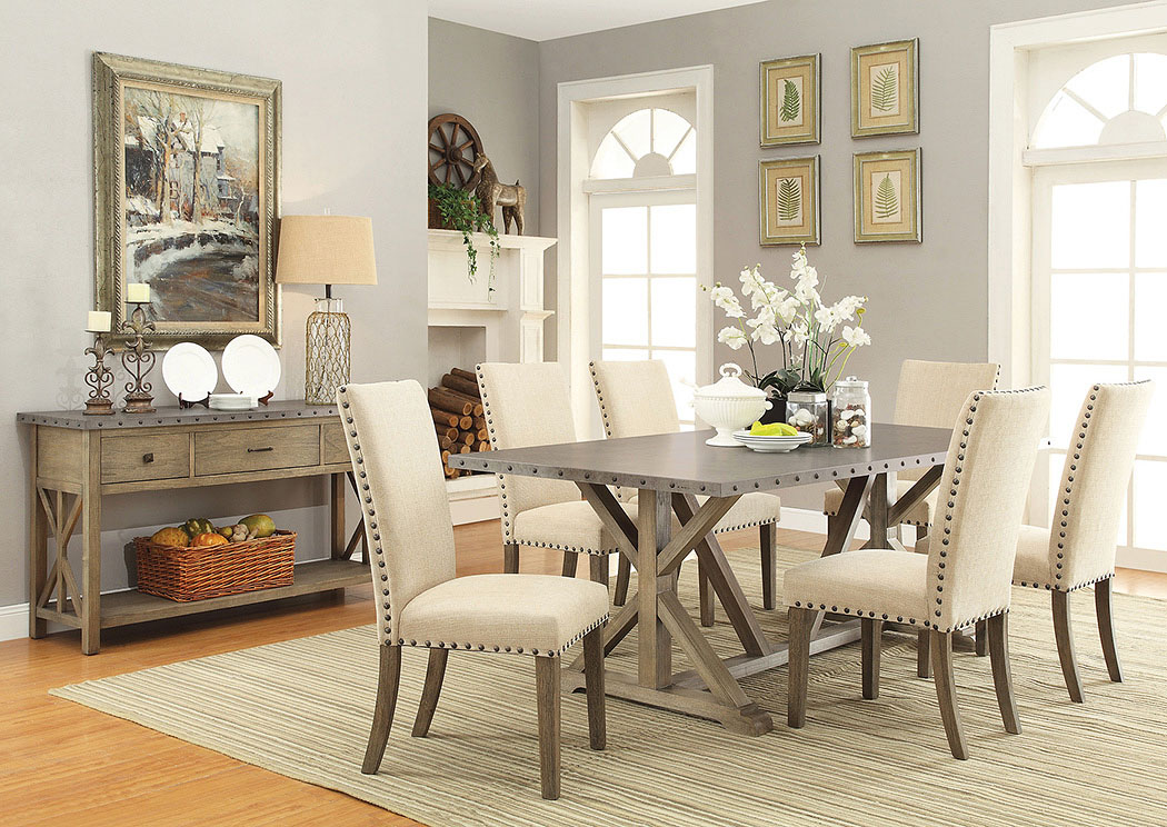 Dining Table W/6 Chair U0026 Server,Coaster Furniture