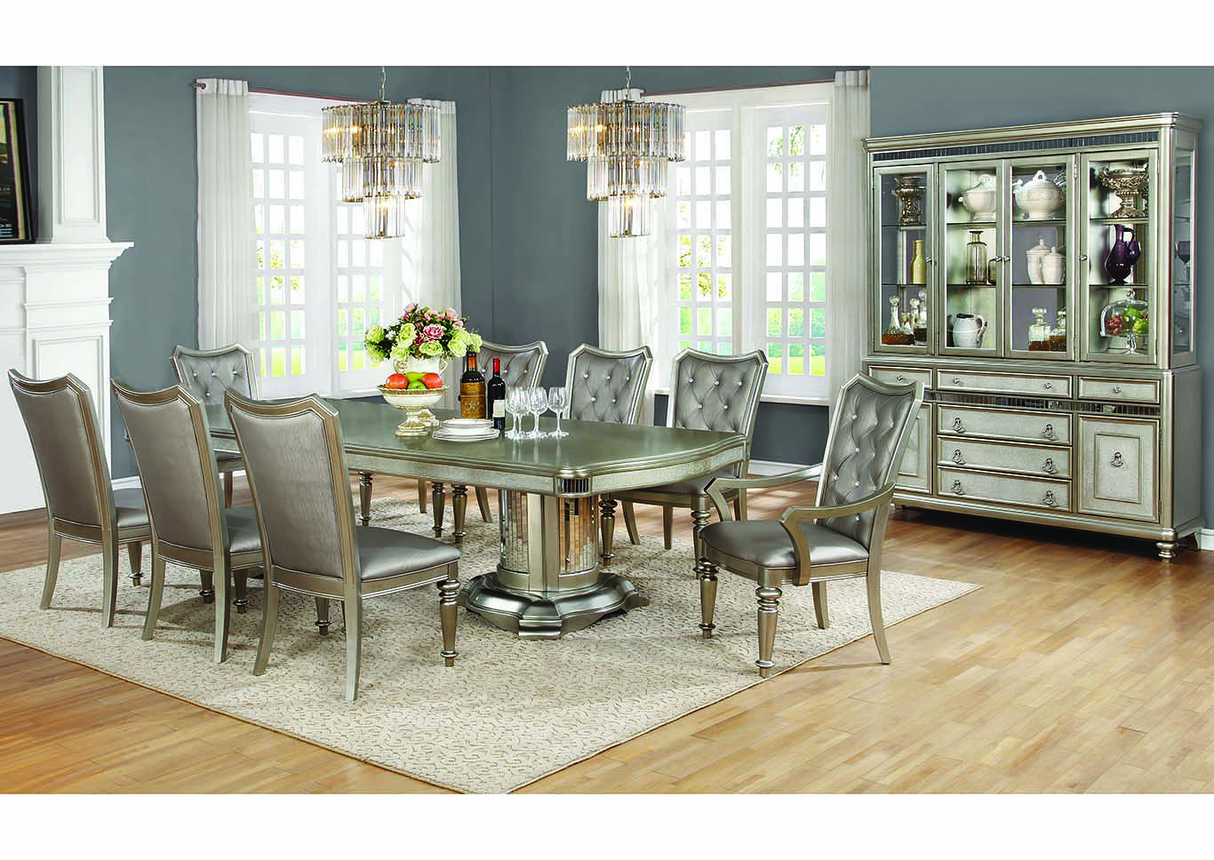 Metallic Platinum Dining Table W 2 Arm Chairs And 6 Side ChairsCoaster Furniture