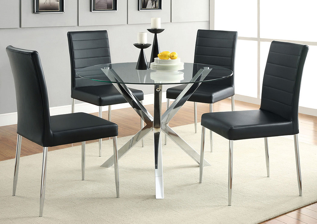 Glass Top Dining Table w/4 Black & Chrome Chairs,Coaster Furniture