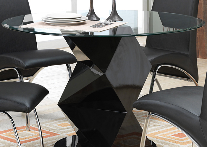 Brothers Fine Furniture Black Gloss Round Dining Table