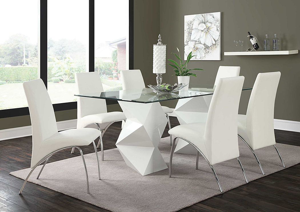 White & White Dining Table w/4 Chairs,Coaster Furniture
