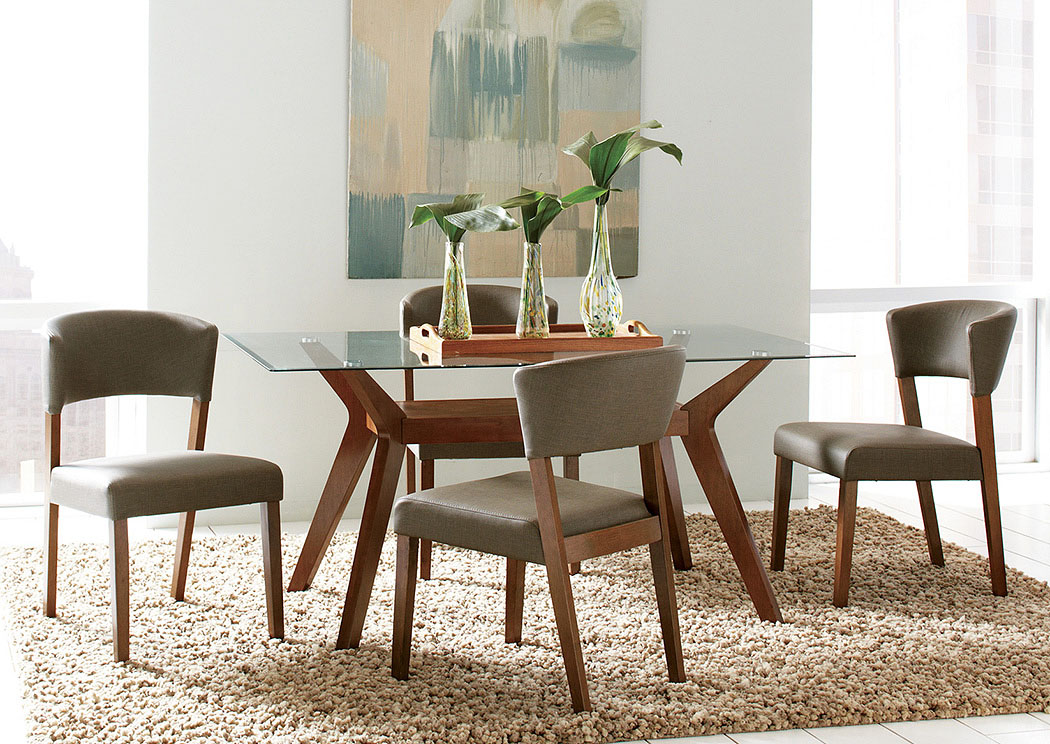 Walnut Dining Table W/4 Side Chairs,Coaster Furniture