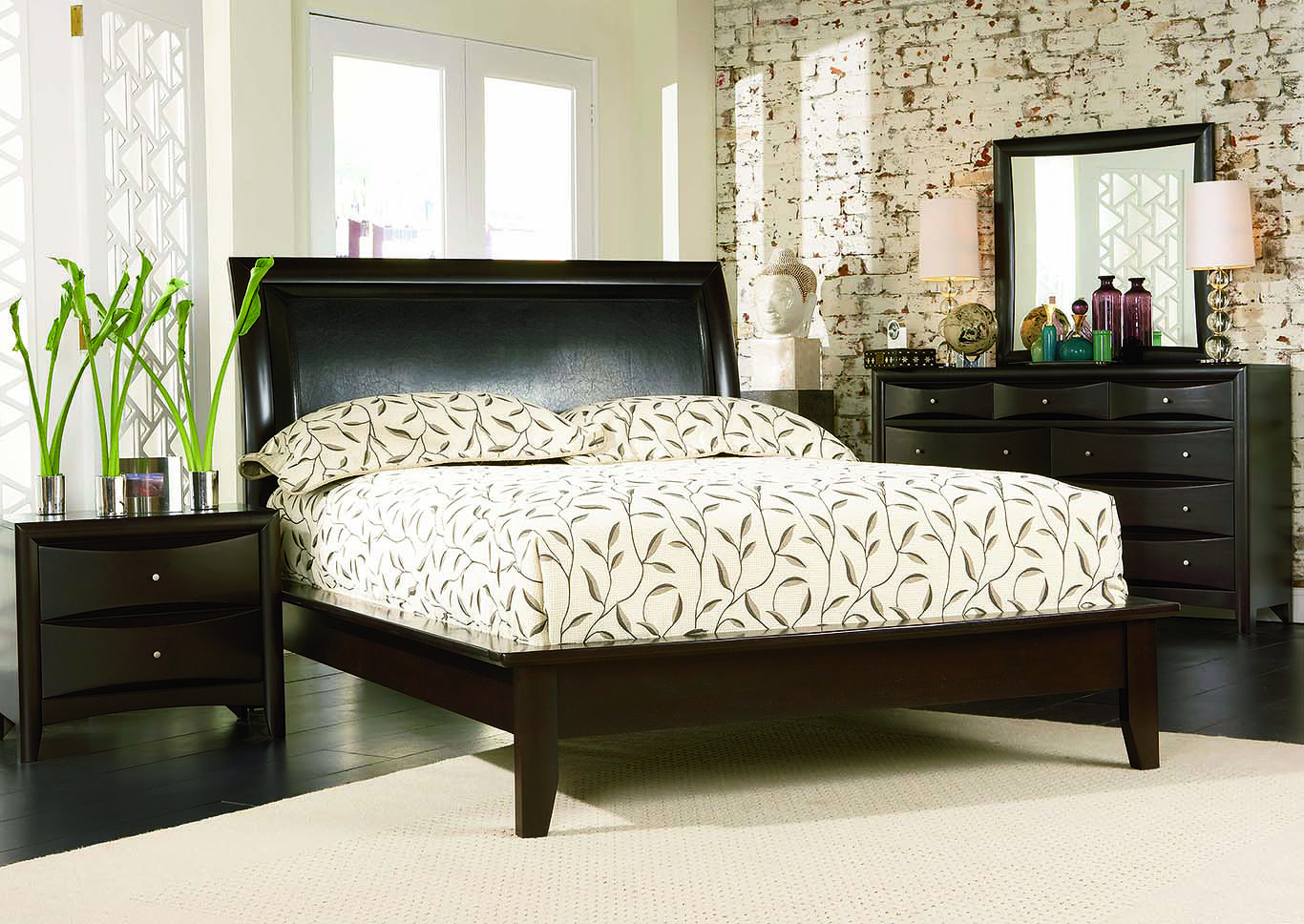 Phoenix Cappuccino Platform Queen Bed w/Dresser, Mirror, Chest & Nightstand,Coaster Furniture