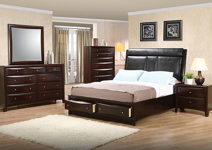 Phoenix Black & Cappuccino Queen Bed w/Dresser, Mirror, Chest & Nightstand,Coaster Furniture
