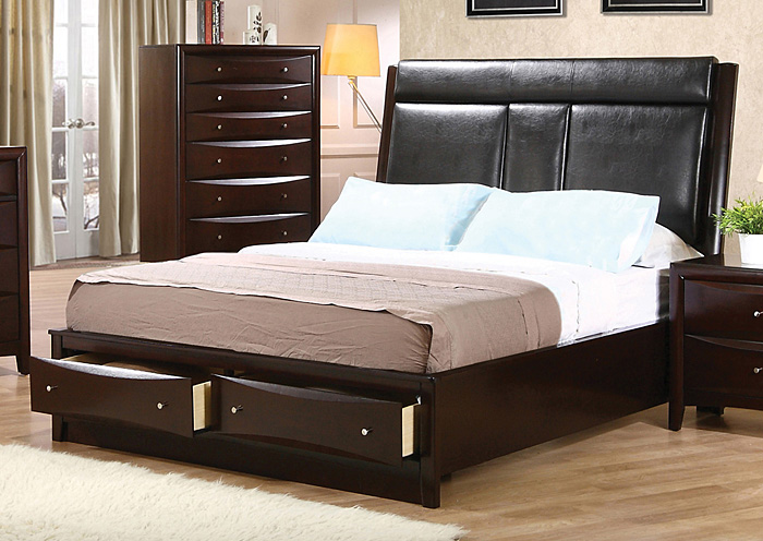 Phoenix Black & Cappuccino King Bed,Coaster Furniture