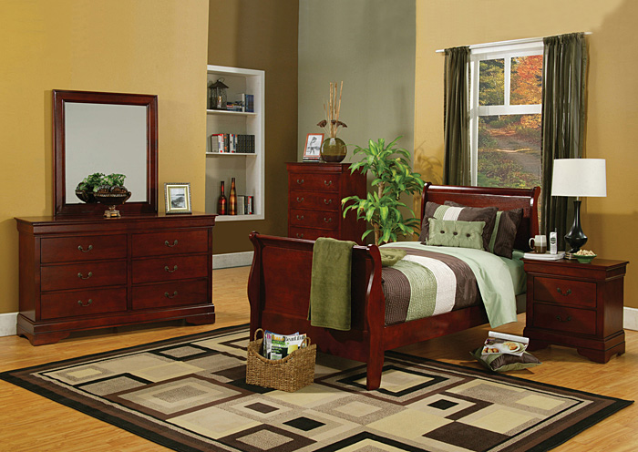 Louis Philippe Cherry Twin Size Bed w/Dresser, Mirror, Chest & Nightstand,Coaster Furniture