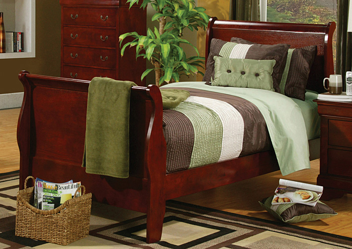 Louis Philippe Cherry Twin Size Bed,Coaster Furniture