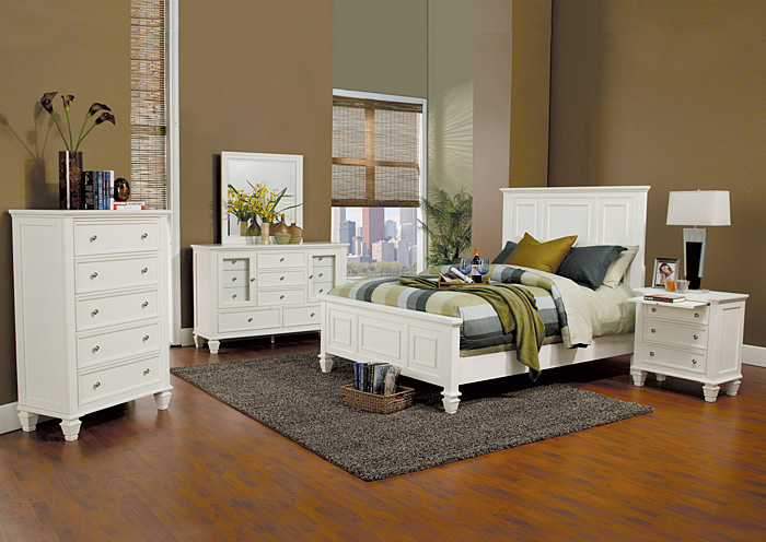 Sandy Beach White King Bed w/Dresser, Mirror & Chest,Coaster Furniture