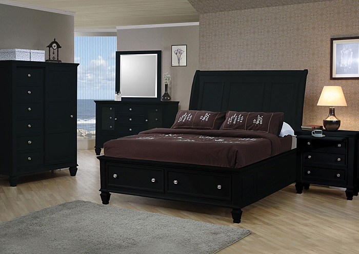 Beautiful Sandy Beach Black Queen Storage Bed W/Dresser, Mirror, Chest U0026 Nightstand