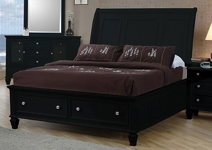 Atlantic Bedding And Furniture Sandy Beach Black Queen Storage Bed