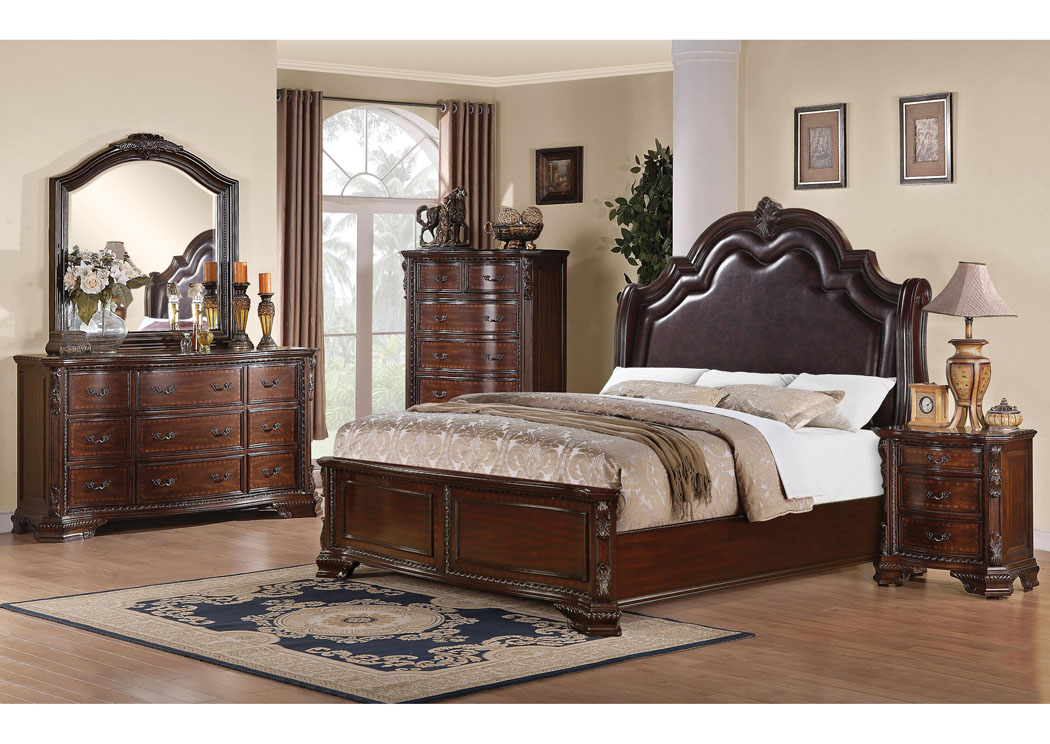 Maddison Queen Bed w/Dresser, Mirror, Chest & Nightstand,Coaster Furniture