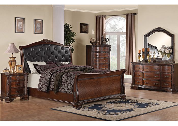 Maddison Black & Brown Cherry King Bed w/Dresser, Mirror, Chest & Nightstand,Coaster Furniture