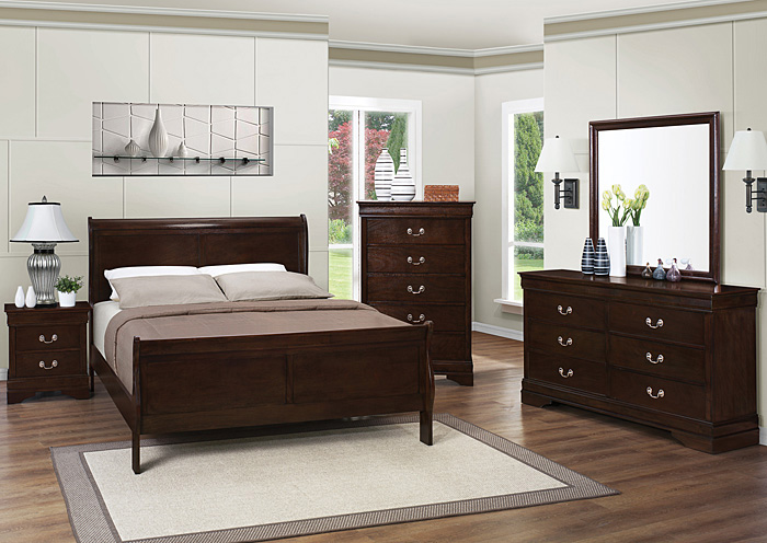 Louis Philippe Cappuccino Queen Bed w/Dresser, Mirror, Chest & Nightstand,Coaster Furniture