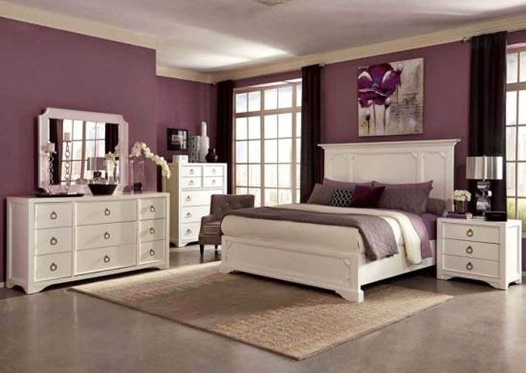 White Queen Bed w/Dresser and Mirror,ABF Coaster Furniture
