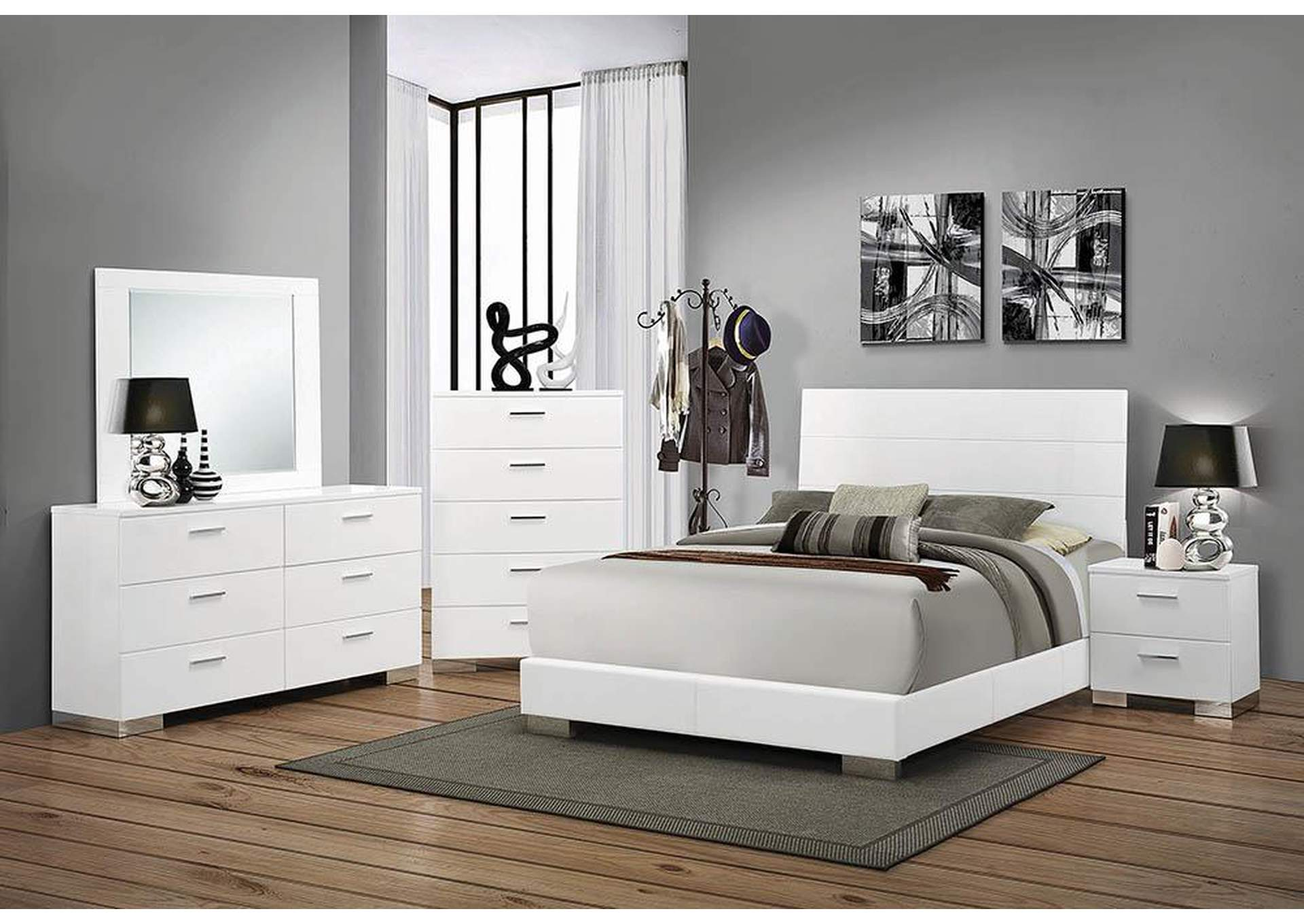 High Gloss White Queen Size Bed,Coaster Furniture