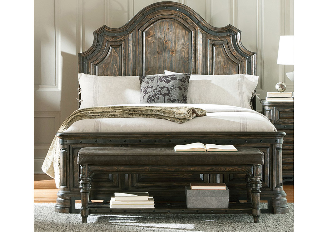 Dark Brown & Wire Brush Eastern King Bed, Dresser, Mirror & Chest,Coaster Furniture