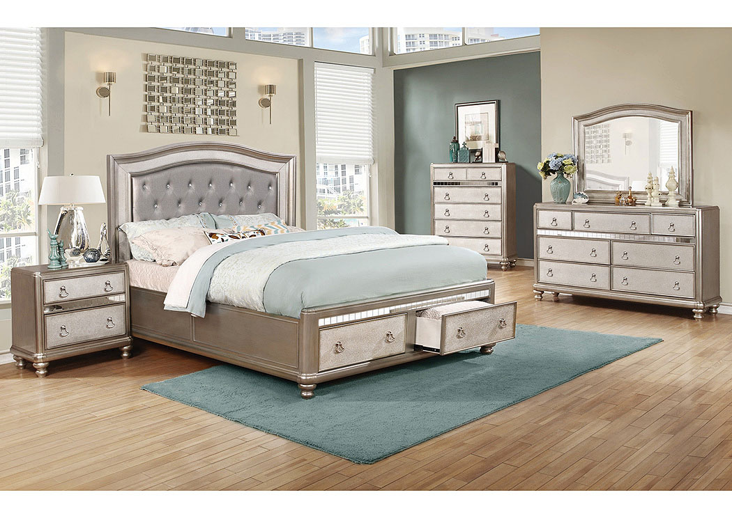 Bling Game Metallic Platinum Eastern King Storage Bed,Coaster Furniture