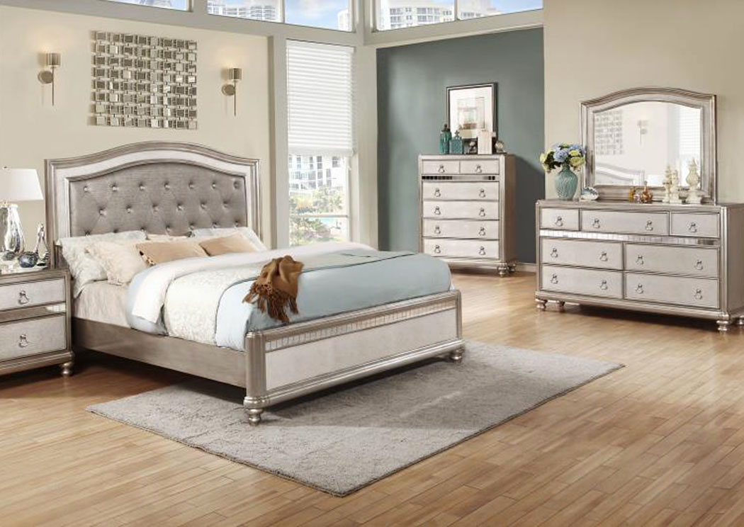 Metallic Platinum California King Bed w/Dresser, Mirror & Nightstand,Coaster Furniture