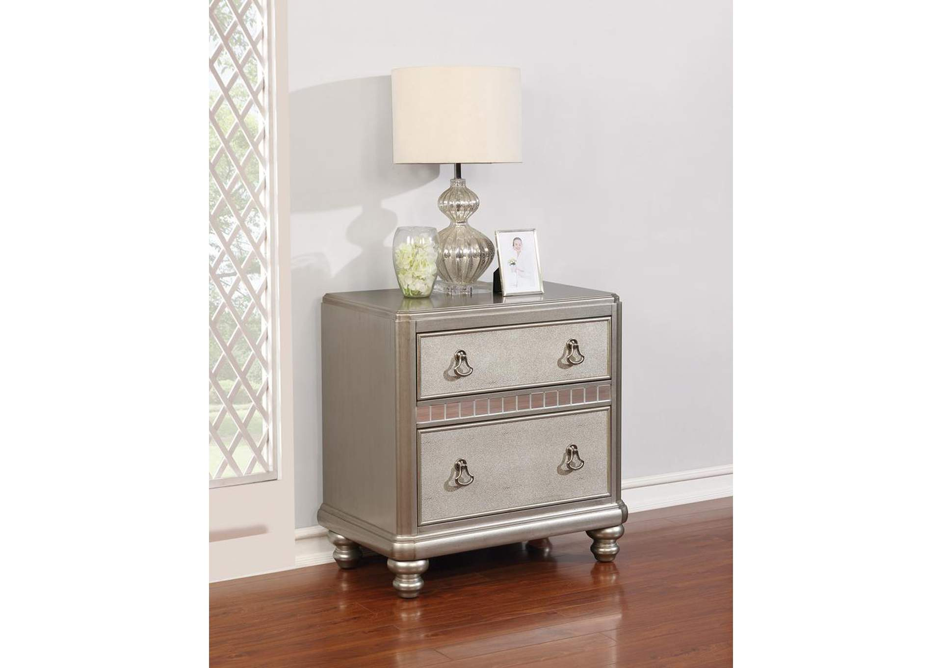 Harlem Furniture Metallic Platinum Nightstand