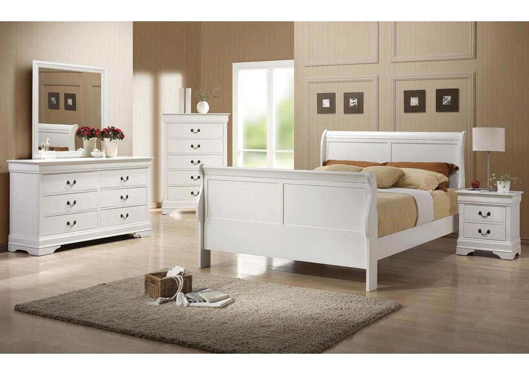 Orbit Furniture NY Louis Philippe White Twin Bed W/Dresser, Mirror, U0026  Nightstand