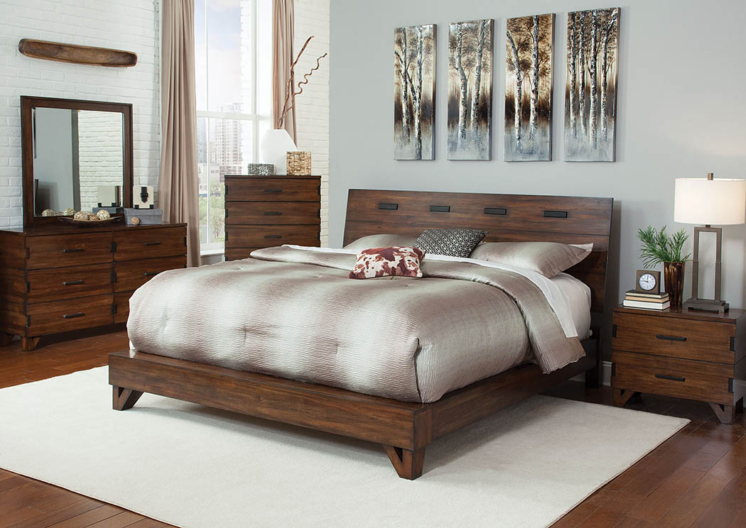 Dark Amber/Coffee Bean Eastern King Platform Bed w/Dresser, Mirror, Drawer Chest and Nightstand,Coaster Furniture