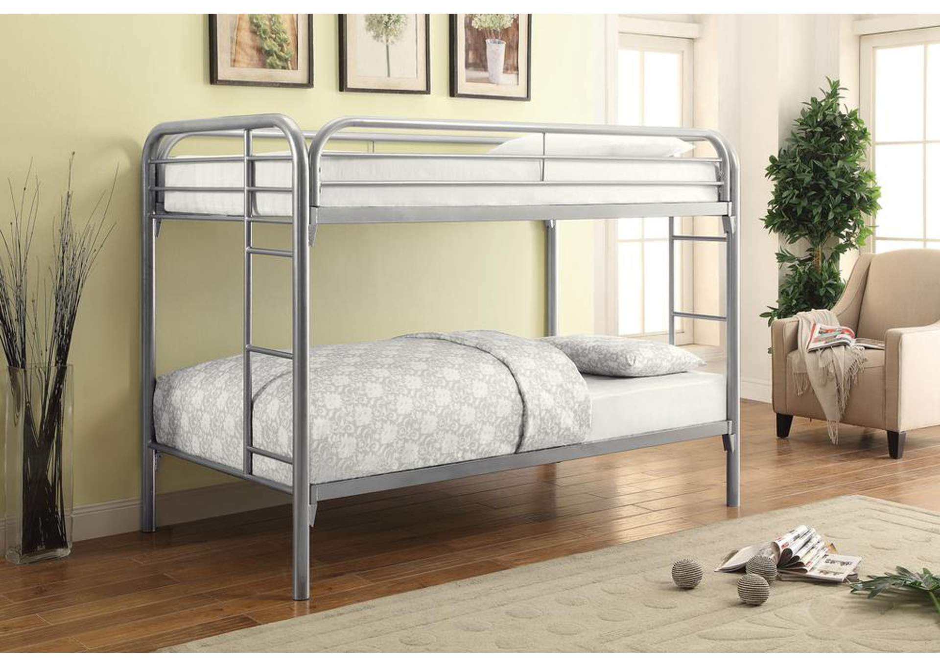 Silver Twin/Twin Metal Bunk Bed,Coaster Furniture
