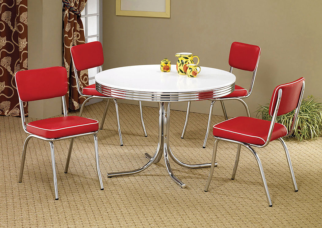 Brothers Fine Furniture Round Retro Dining Table W 4 Red Side Chairs