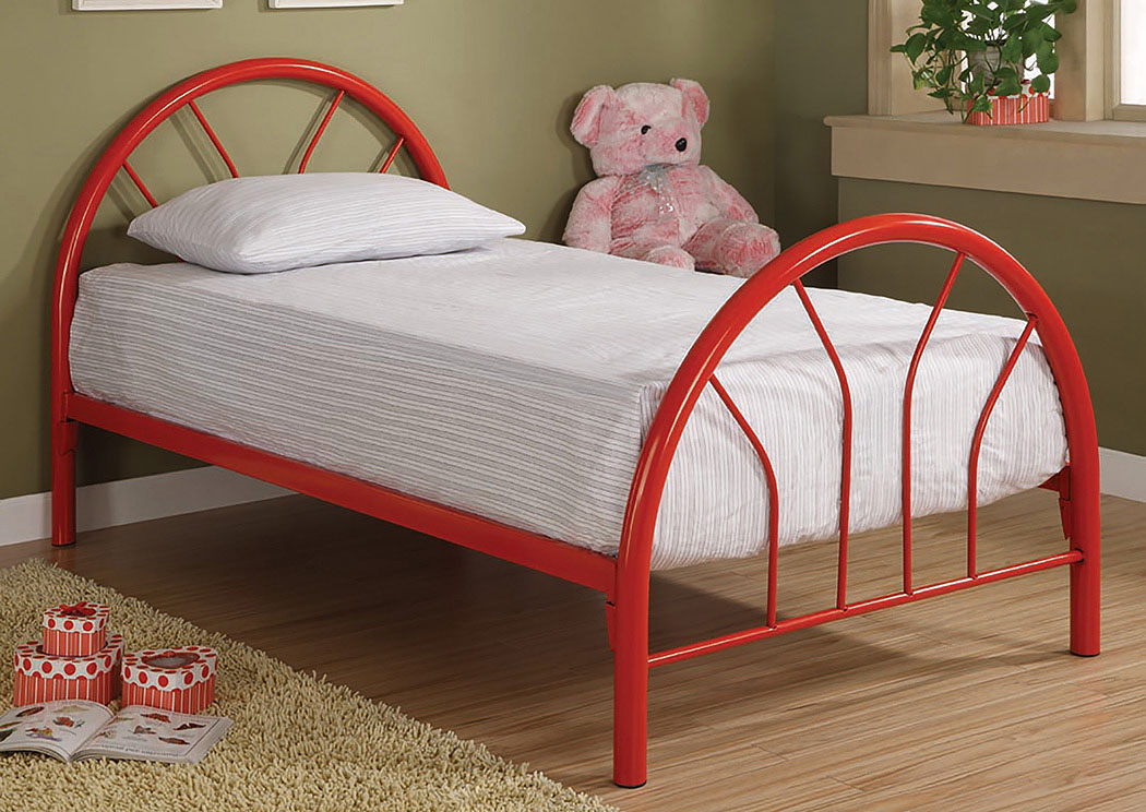 Red Metal Twin Bed,Coaster Furniture