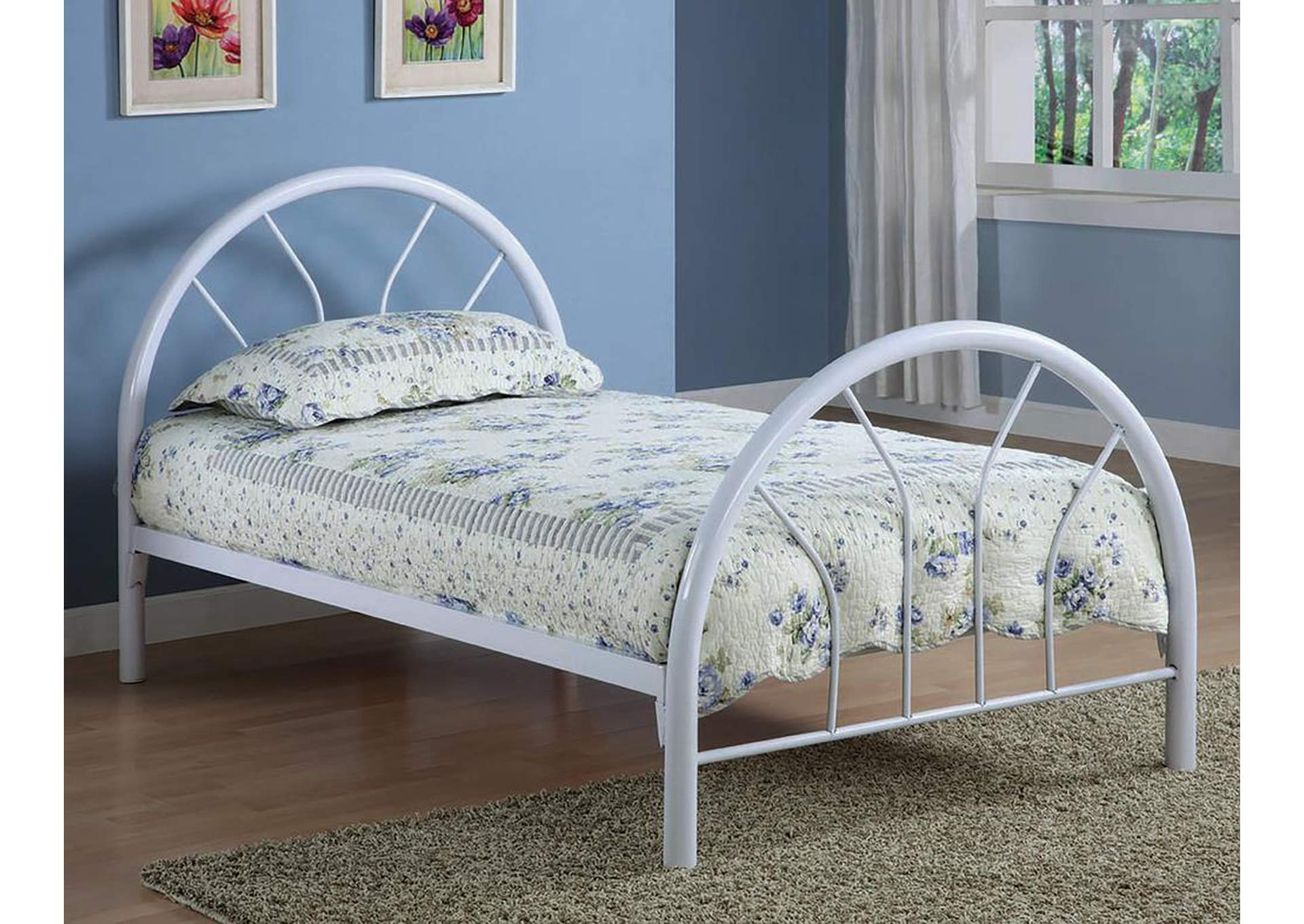 White Metal Twin BedCoaster Furniture