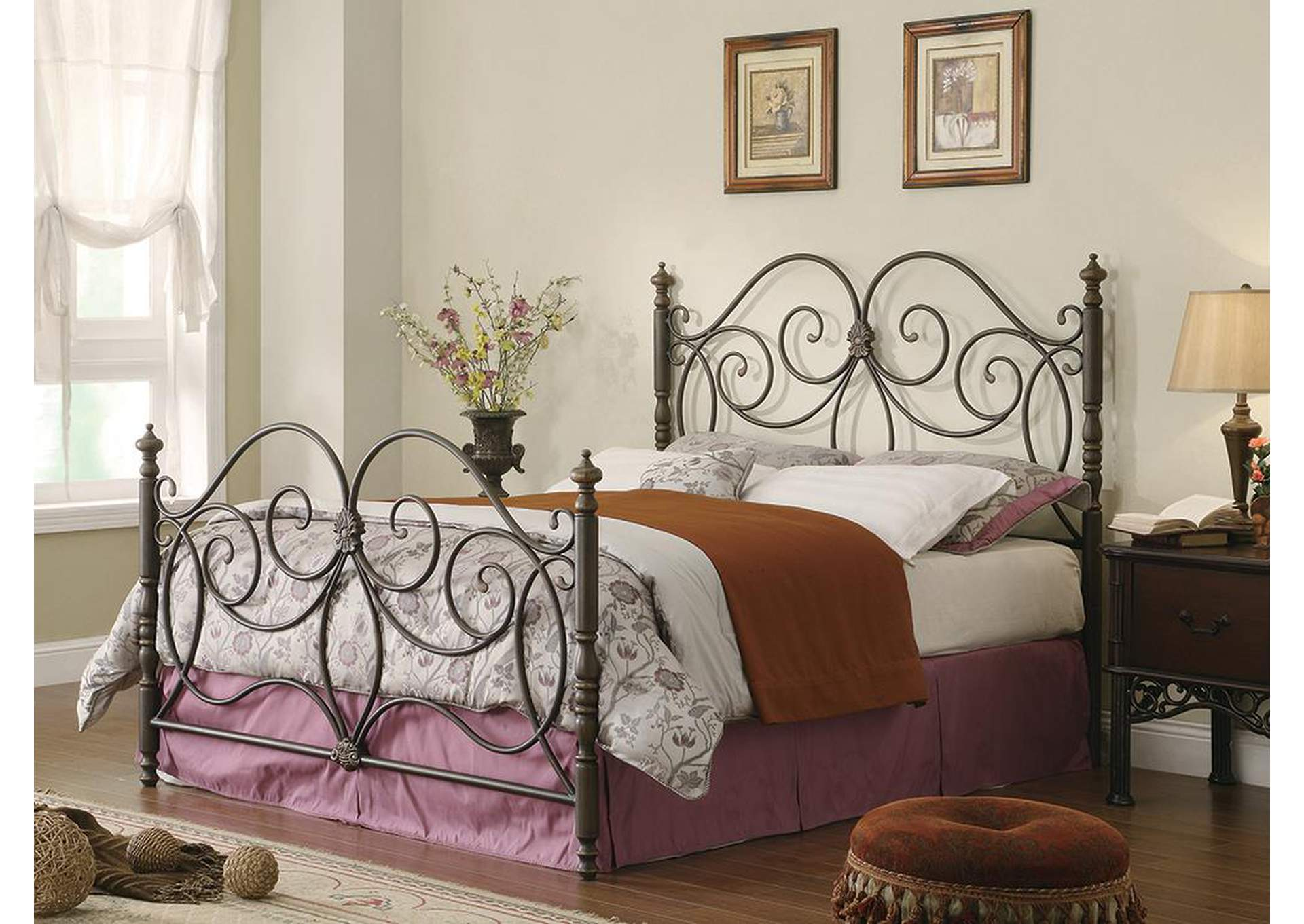 Plush Home Furniture London Caramel Metal Queen Bed Requires - Queen bedrooms