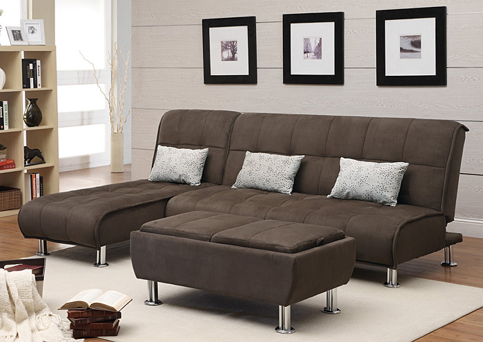 Chaise End Sectional Sofa Bed,Coaster Furniture
