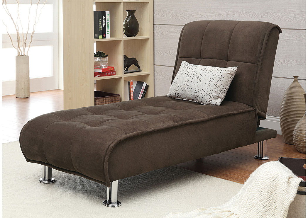 Harlem furniture brown chaise sofa bed for Brown chaise lounge sofa
