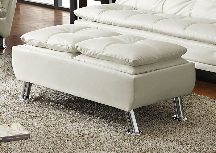 White Storage Ottoman,Coaster Furniture