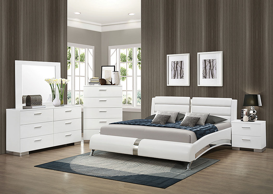 White Queen Upholstered Bed W/Dresser, Mirror U0026 Nightstand,Coaster Furniture