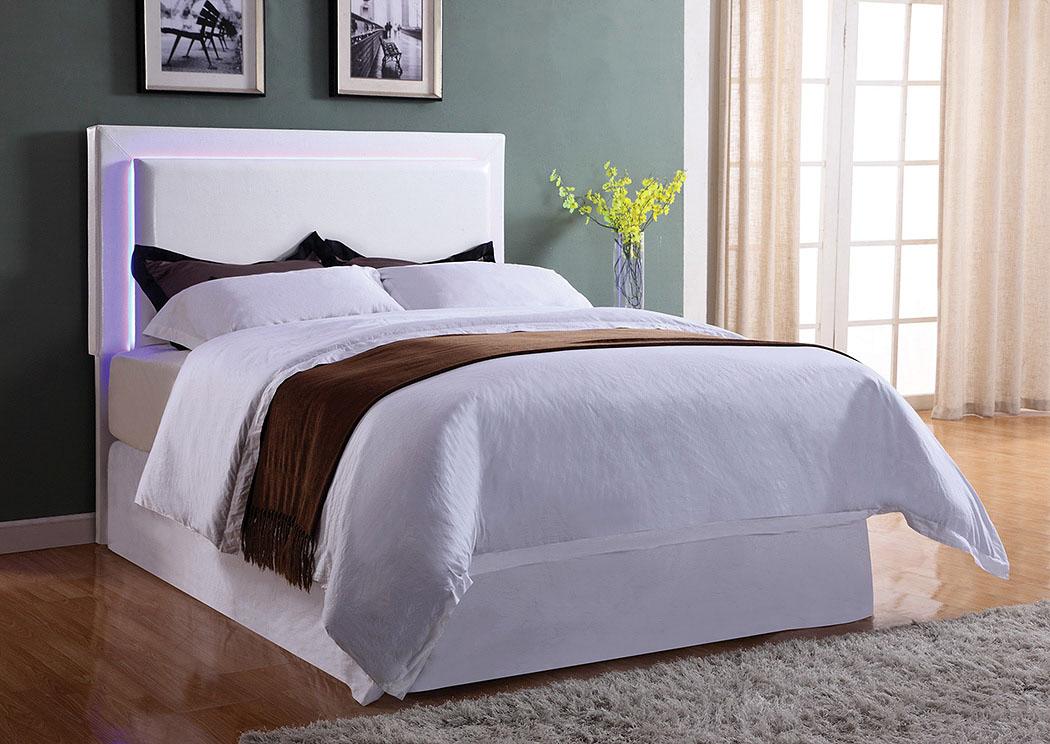 Harlem Furniture White Upholstered Twin Led Headboard