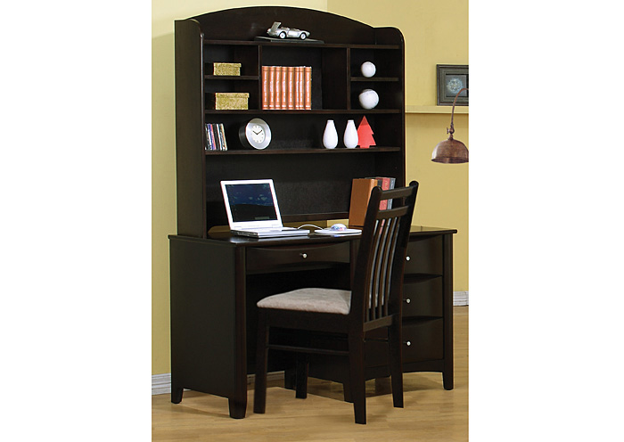 Phoenix Cappuccino Desk & Hutch,Coaster Furniture
