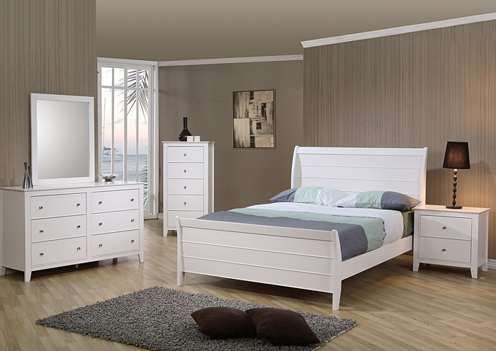 Selena White Full Bed w/Dresser, Mirror & Nightstand,Coaster Furniture
