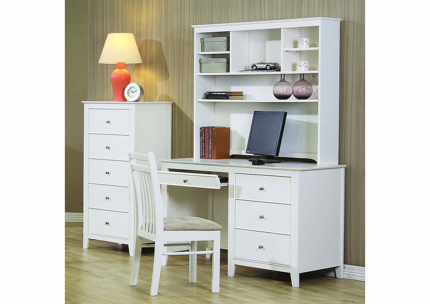 Selena White Desk & Hutch,ABF Coaster Furniture
