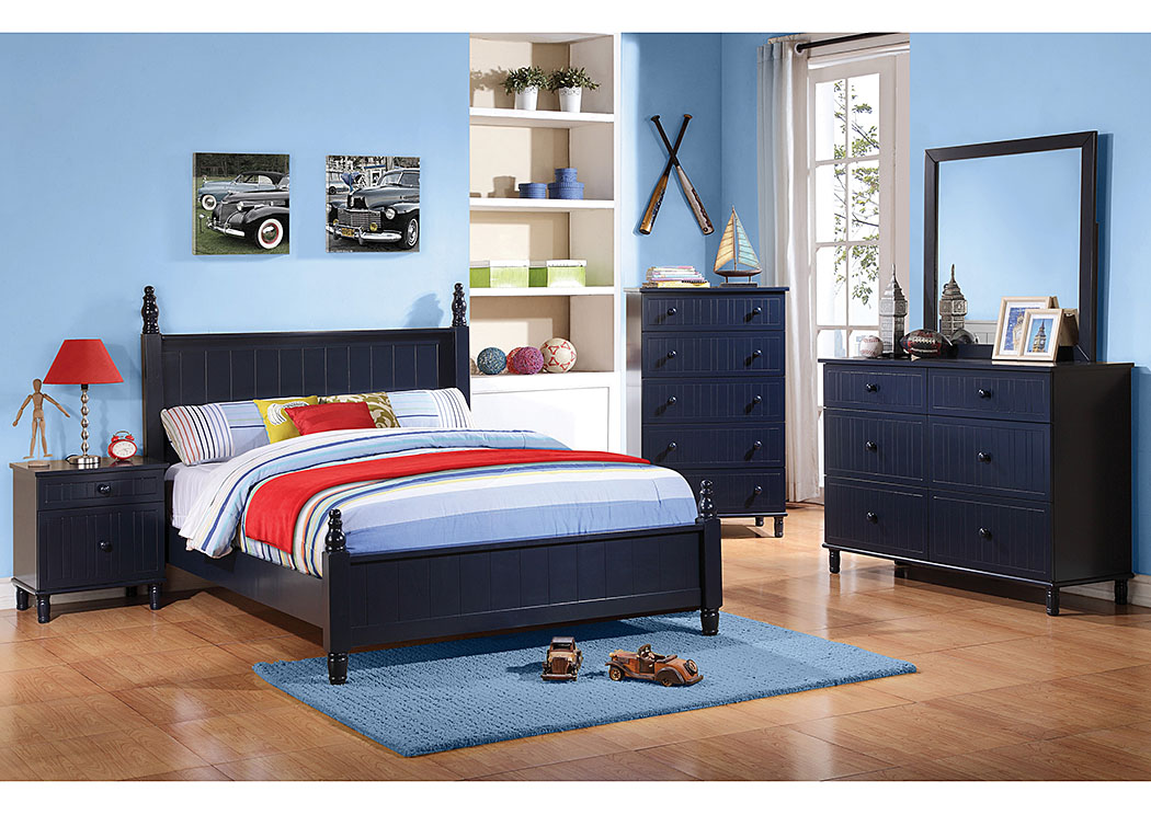 Navy Blue Twin Bed, Dresser, Mirror & Chest,Coaster Furniture