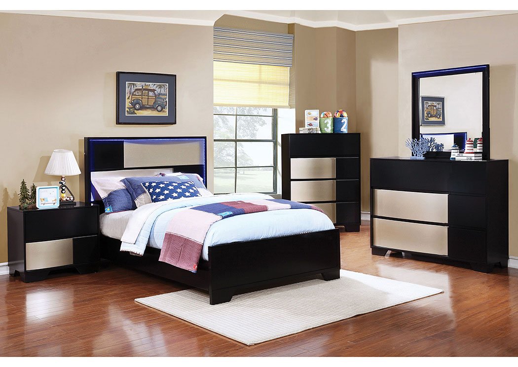 Havering Black/Sterling Twin Panel Bed w/Dresser, Mirror & Nightstand,Coaster Furniture
