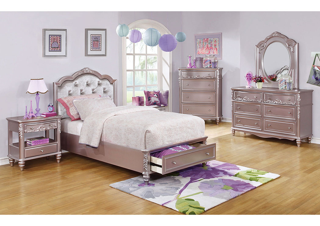 jarons metallic lilac twin storage bed w dresser and mirror. Black Bedroom Furniture Sets. Home Design Ideas