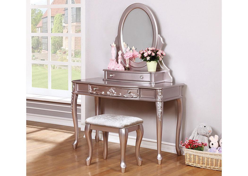 Furniture Palace Metallic Lilac Vanity Stool