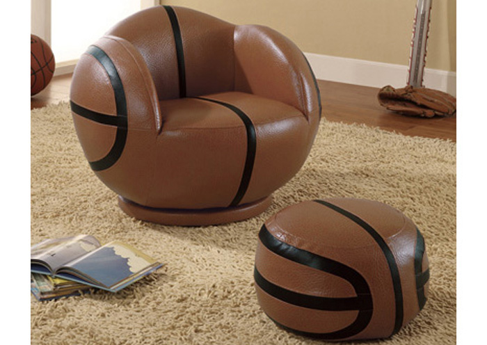 Brown Small Kids Basketball Chair U0026 Ottoman