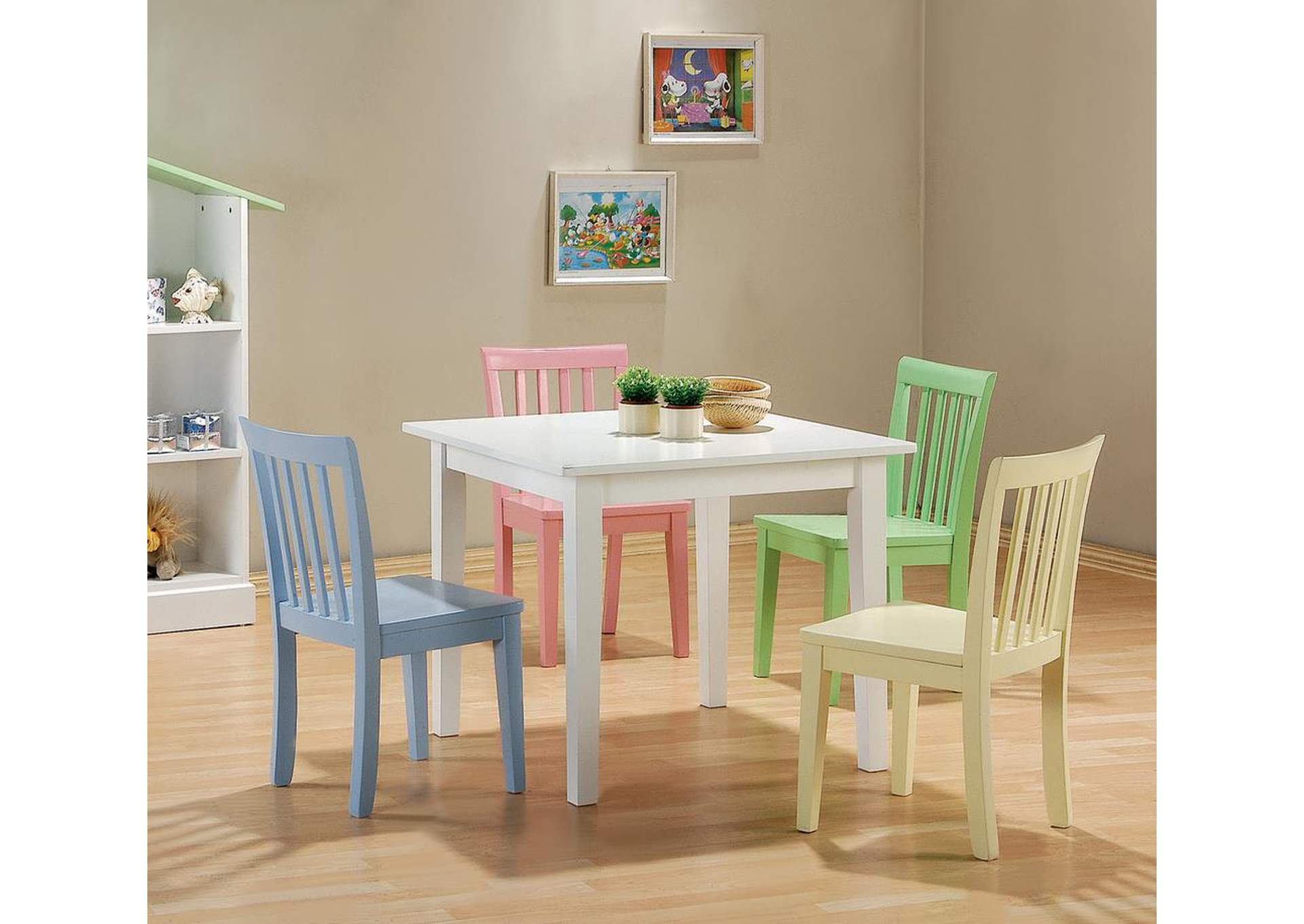 Dining Table w/4 Chairs (5 Pc Set),Coaster Furniture