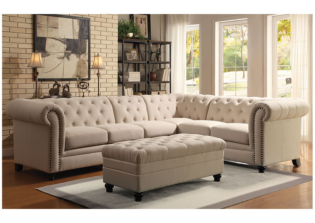 Oatmeal Extended Sectional (Ottoman Sold Separately),Coaster Furniture